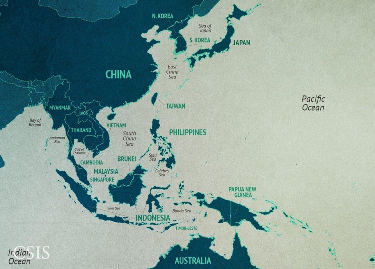 Kiina Kartta Etela Kiinan Meren Kartta Etela Kiinan Meren Alueella