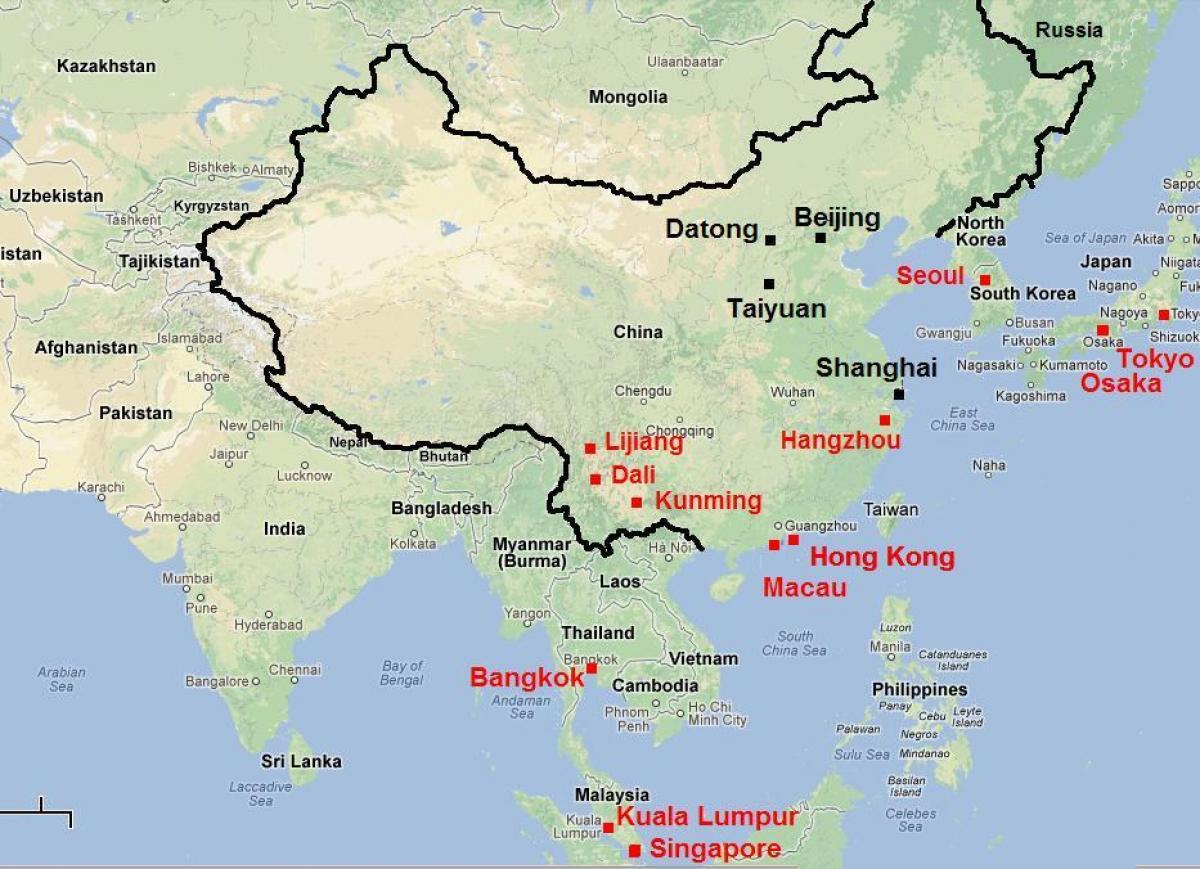 Kartta Etela Kiinan Etela Kiinan Kartta Ita Aasia Aasia