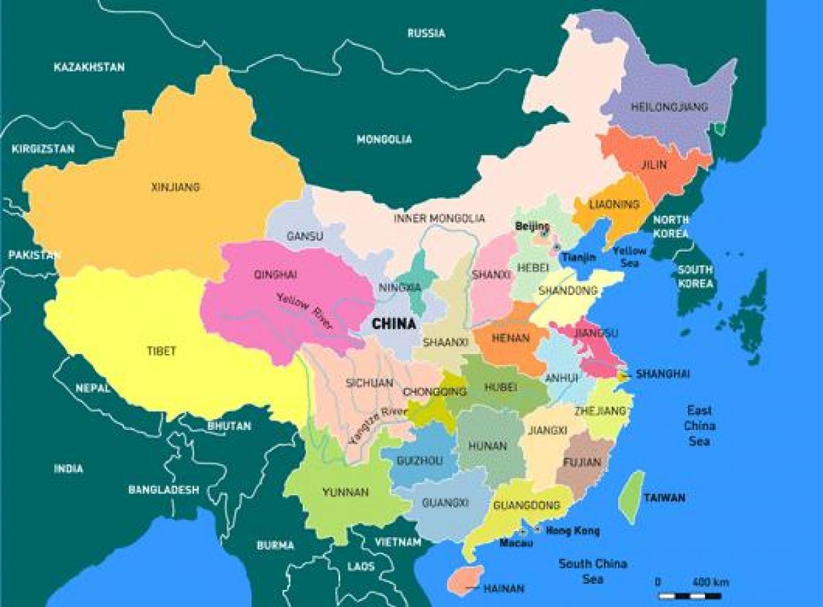 Kartta Kiinan Maakunnissa Englanti Kiina Maakunta Kartta