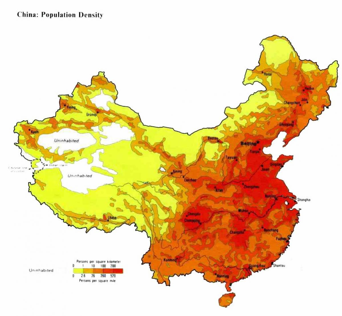 Kiinan Vaestotiheys Kartta Asukastiheys Kartta Kiina Ita Aasia