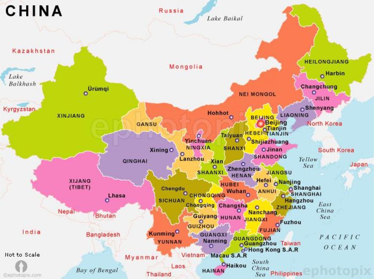 Kiinan Valtioiden Kartta Kiina Kartta Valtioiden Kanssa Ita